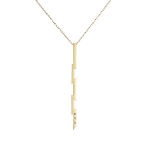 Irish jewellery designer ella green Long vertical Punk Style Necklace 9k Yellow Gold Diamonds
