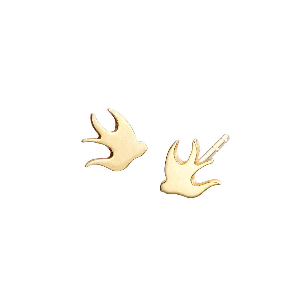 ella green jewellery irish jewellery designer bird swallows stud earring 9k yellow gold