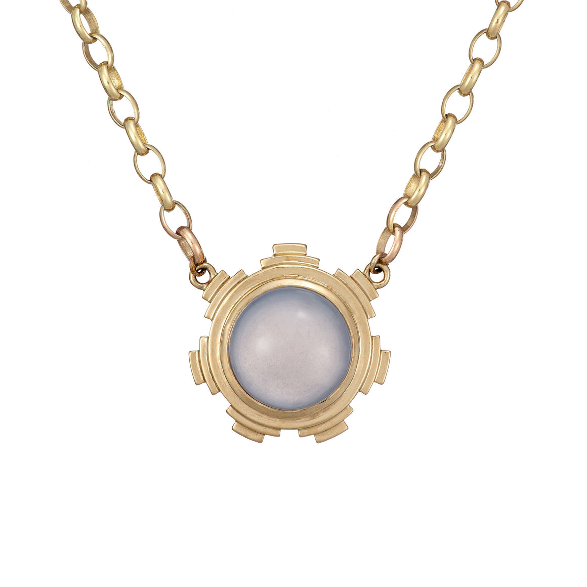 Ella Green Irish jewellery designer necklace yellow gold chalcedony van eyck light blue cabochon stone