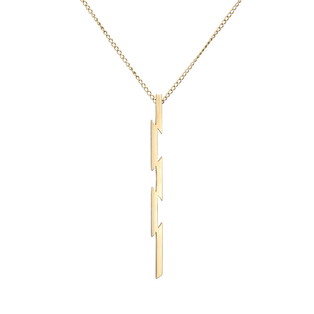 irish jewellery designer ella green jewellery Long vertical Punk Style Necklace 9k Yellow Gold