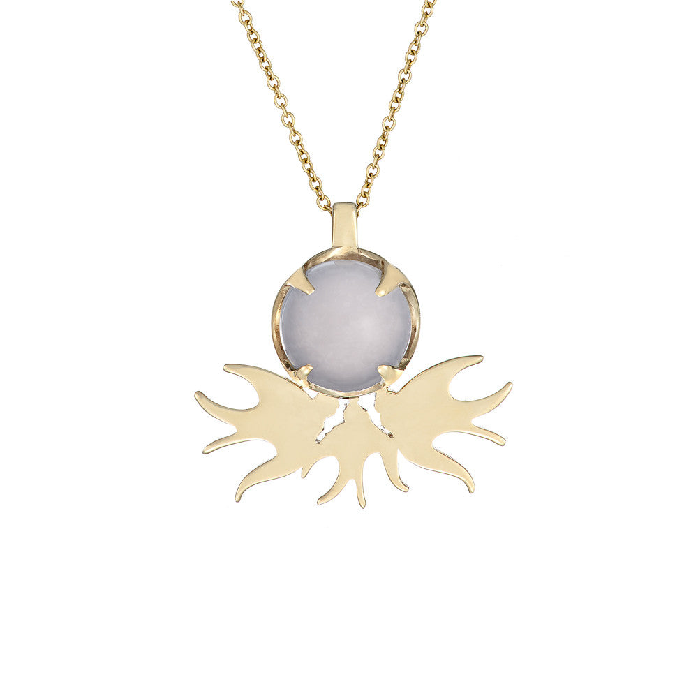 ella green jewellery irish designer chalcedony bird pendant necklace yellow gold blue stone