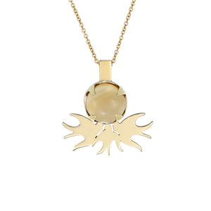 ella green jewellery irish designer citrine bird pendant necklace yellow gold gemstone