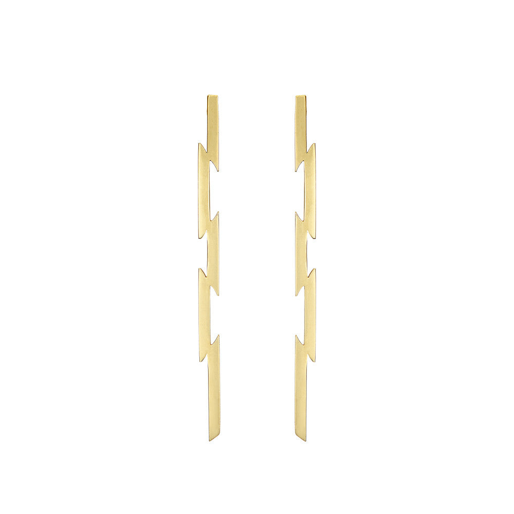 Irish jewellery designer 9k yellow gold ella green jewellery long vertical punk earrings