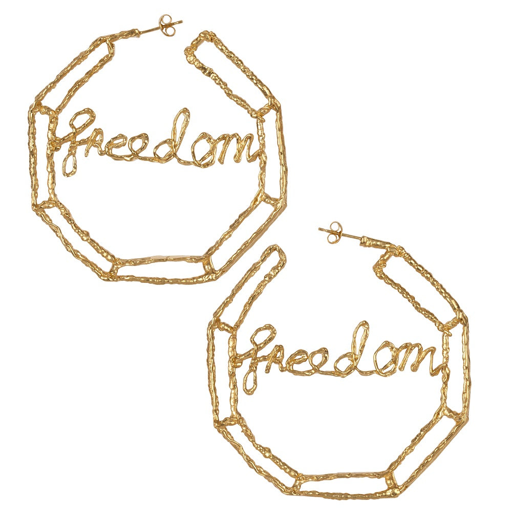 Freedom Large Hoop Earrings Ella Green Irish Jewellery