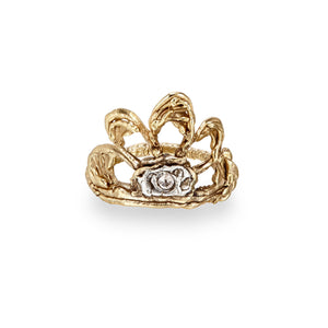 Freedom Peacock Ring 9k yellow gold Irish jewellery designer