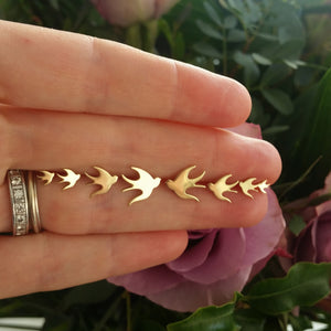 ella green jewellery irish designer bird stud earring yellow gold