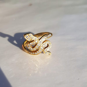 Cleopatra Snake Ring 18k Yellow Gold Diamonds