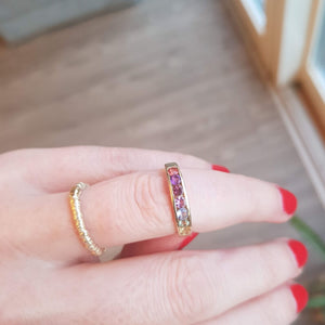Rainbow seven stone solid gold ring tourmaline sapphire tanzanite