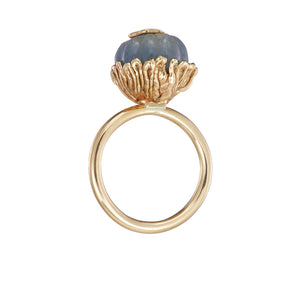 Swallows Ring with Carved Blue Green Sapphire