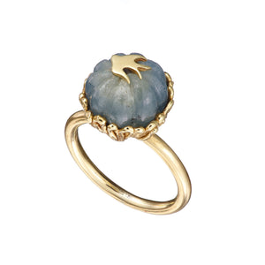 Swallows Ring with Carved Blue Green Sapphire Solid Gold Handmade