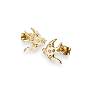 ella green jewellery irish jewellery designer swallows bird stud earring yellow gold white sapphire