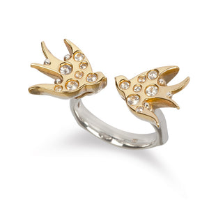 Irish jewellery designer ella green jewellery 9k Yellow Gold  silver ring swallows white sapphires