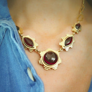 Ella Green Irish jewellery designer statement necklace yellow gold garnet van eyck art inspired red gemstone