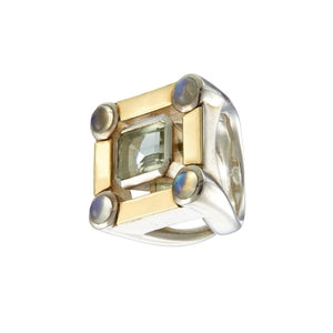 Moonstone gold and silver ring Irish jewellery designer Ella Green