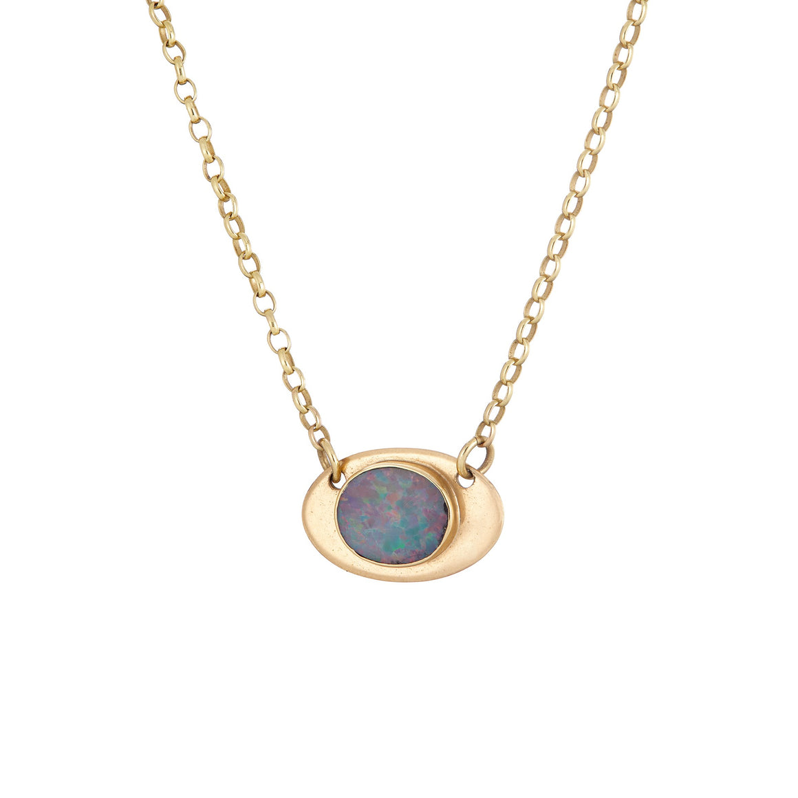 9ct solid gold and australian back opal necklace