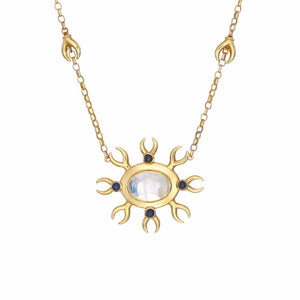 Metamorphosis Irish jewellery designer Ella Green moonstone yellow gold necklace insect jewelry