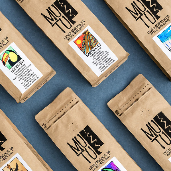 An assortment of Mutu Coffee bags including Mexico, Honduras and more