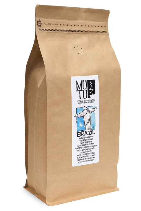 2.2 pound (or 1 kilogram) bag of Brazil Café Femenino by Mutu Coffee