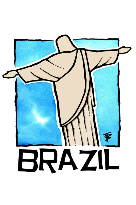 Hand-drawn illustration of Christ the Redeemer in Rio de Janeiro for Brazil Café Femenino by Mutu Coffee
