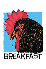 Hand-drawn illustration of a rooster with a cool toned background for Breakfast Blend by Mutu Coffee