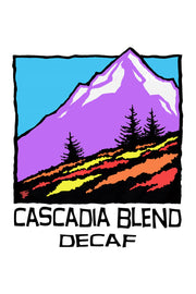 Hand-drawn illustration of the Cascade Mountain Range for Cascadia Swiss Water Process Decaf Blend by Mutu Coffee