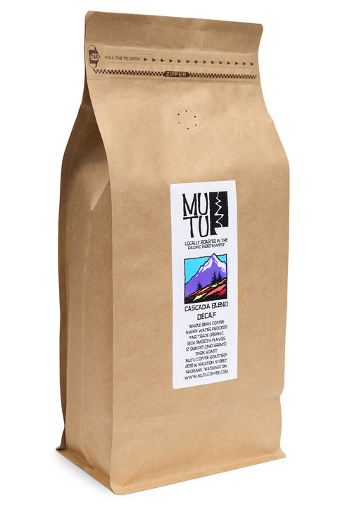 2.2 pound (or 1 kilogram) bag of Cascadia Swiss Water Process Decaf Blend by Mutu Coffee
