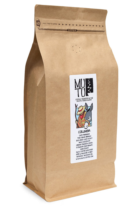 2.2 pound (or 1 kilogram) bag of Columbia Café Femenino by Mutu Coffee