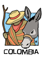 Hand-drawn illustration of a man with walking stick and donkey for Columbia Café Femenino by Mutu Coffee