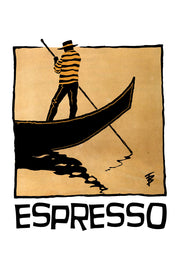 Hand-drawn illustration of a gondolier in Venice for Espresso Blend by Mutu Coffee