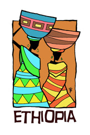 Stylized illustration of two women carrying pots on their heads for Ethiopia Yirgacheffe by Mutu Coffee