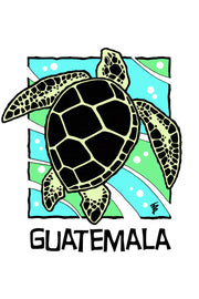 Stylized illustration of a sea turtle for Guatemala Café Femenino by Mutu Coffee