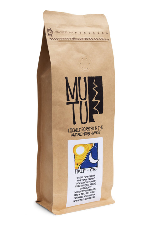 12 ounce bag of Half Caf by Mutu Coffee