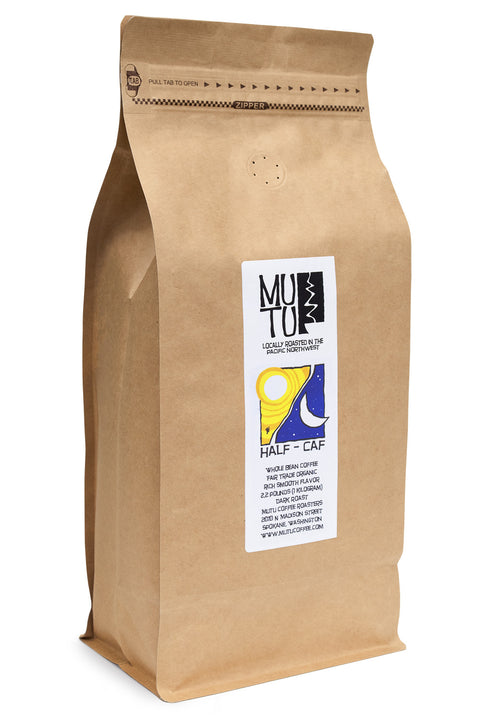 2.2 pound (or 1 kilogram) bag of Half Caf by Mutu Coffee