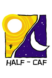 Stylized illustration of the sun and moon for Half Caf by Mutu Coffee