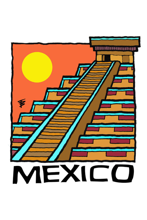 Hand-drawn illustration of a Mayan temple for Mexico Chiapas Café Femenino by Mutu Coffee