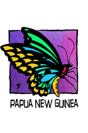 Hand-drawn illustration of a colorful butterfly for Papua New Guinea by Mutu Coffee