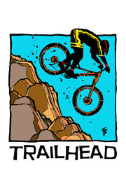 Stylized illustration of a downhill mountain biker for Trailhead Blend by Mutu Coffee
