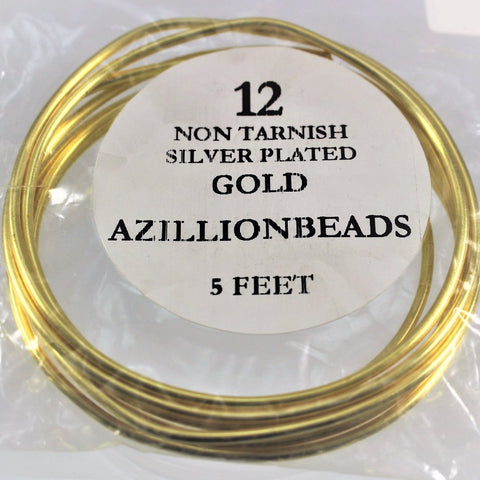 12g Copper Wire, Non Tarnish Silver Plated Gold Color, 5ft - Azillion Beads