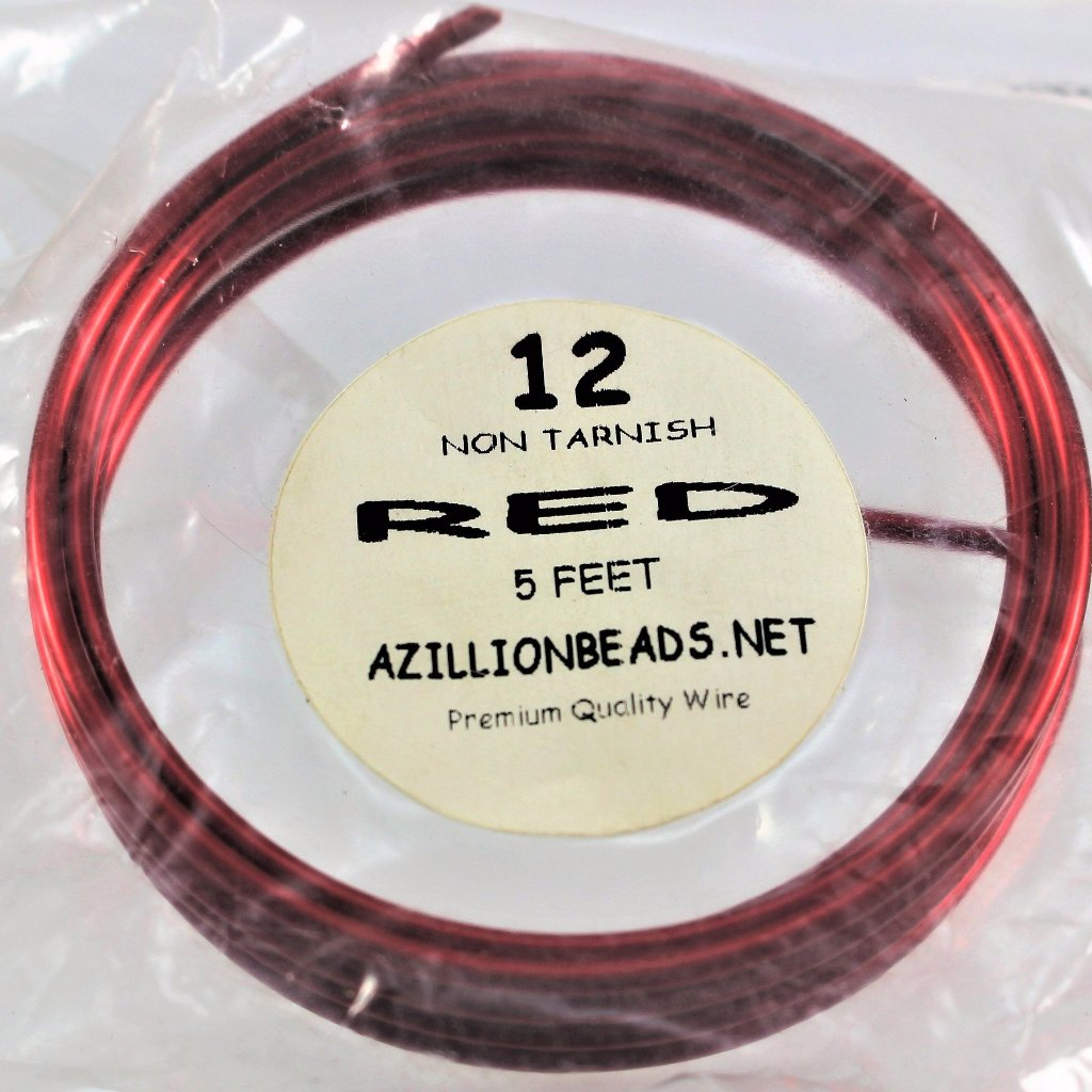 12g Copper Wire, Red, 5ft  R7S4B-12R - Azillion Beads