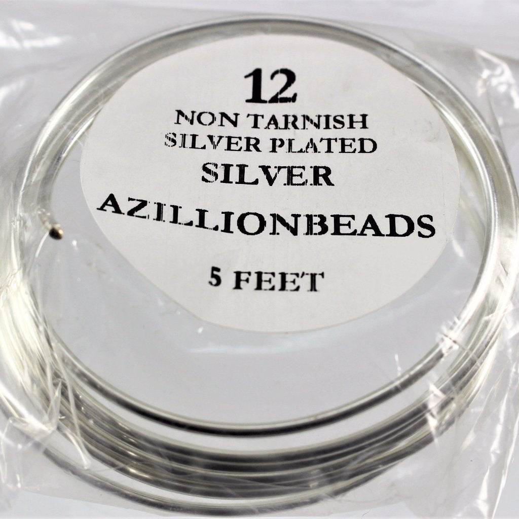 12g Copper Wire, Non Tarnish Silver Plated, 5ft - Azillion Beads