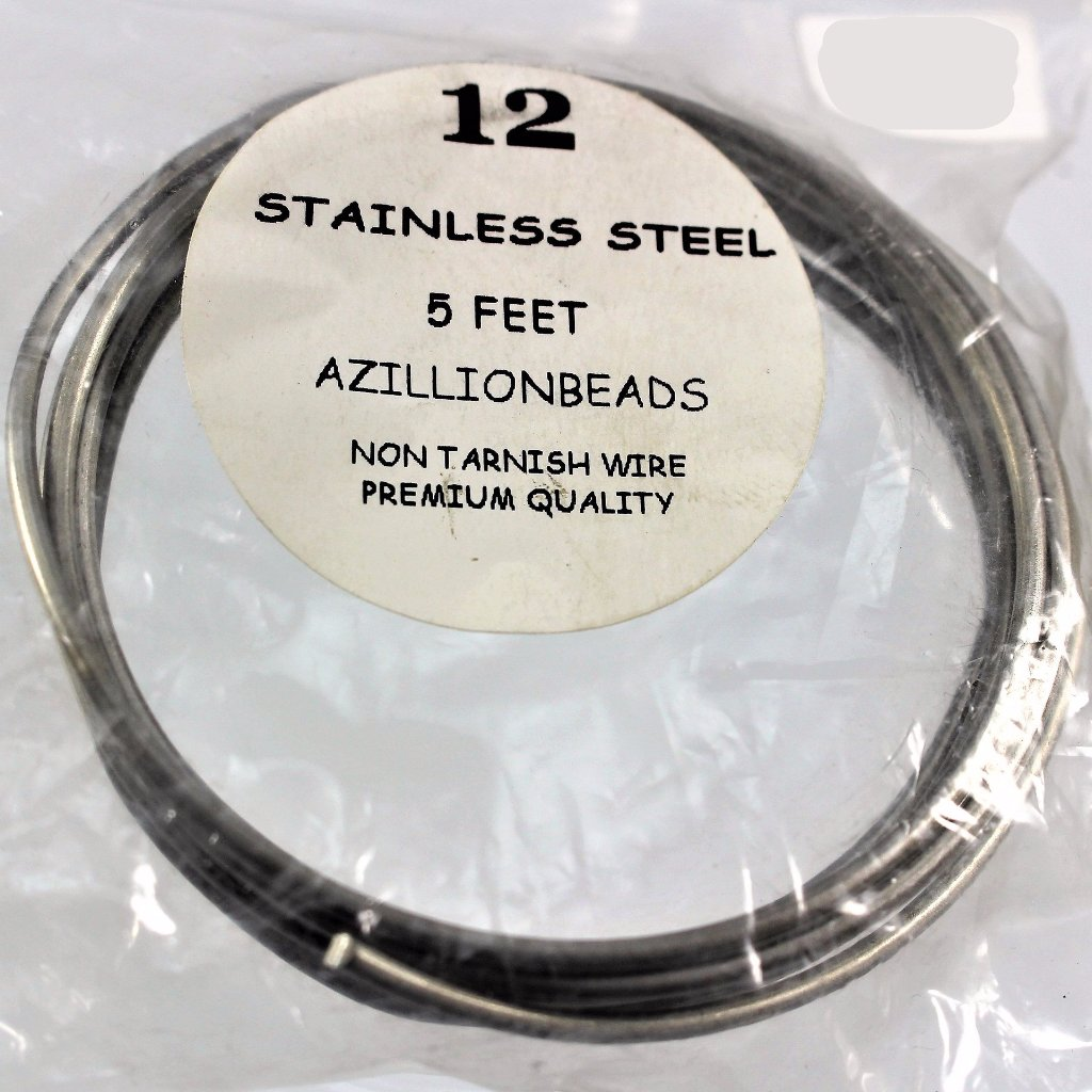 12g Stainless Steel Wire, Natural Color, 5ft  R7S4B-12SS - Azillion Beads