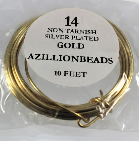 14g Copper Wire, Non Tarnish Silver Plated Gold color, 10ft - Azillion Beads