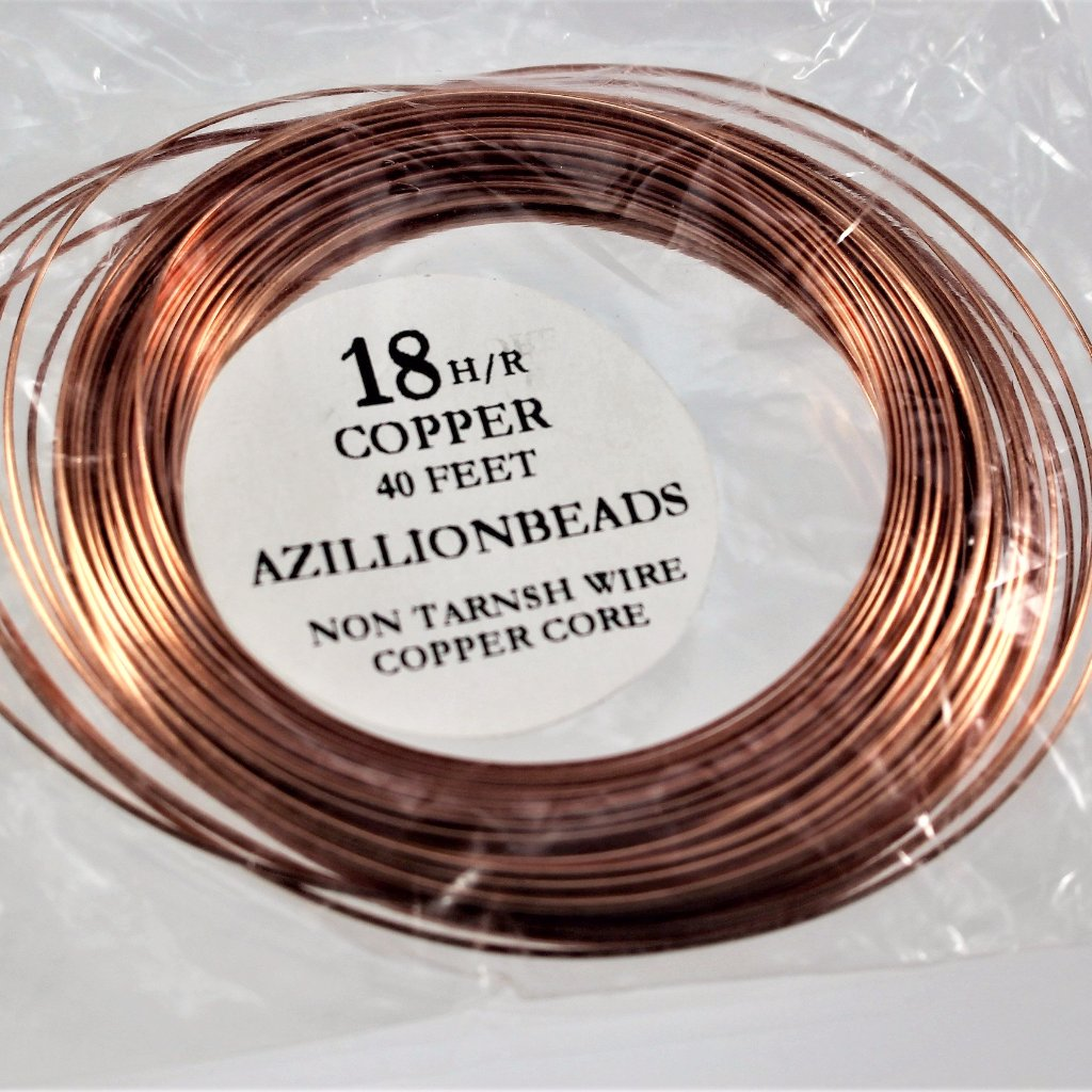 18g Half Round Copper Wire, Copper color, 40ft  R7S5B-18HRC - Azillion Beads