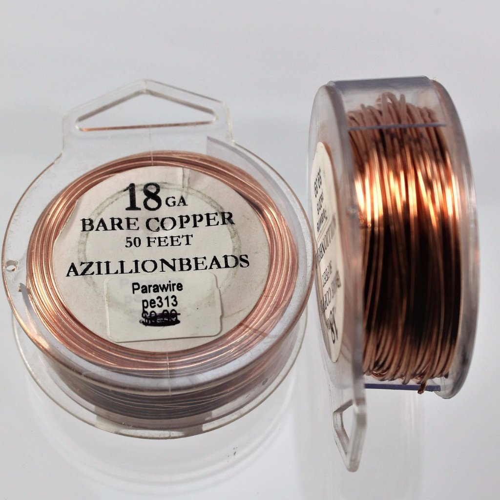 18g Copper Wire, Bare Copper, 50ft - Azillion Beads