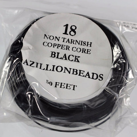 18g Black Enameled Copper Core Wire, 50ft - Azillion Beads