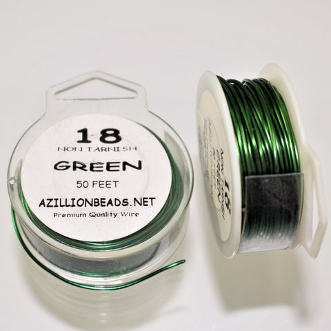 18g Copper Core Wire, Green Enameled, 50ft. - Azillion Beads