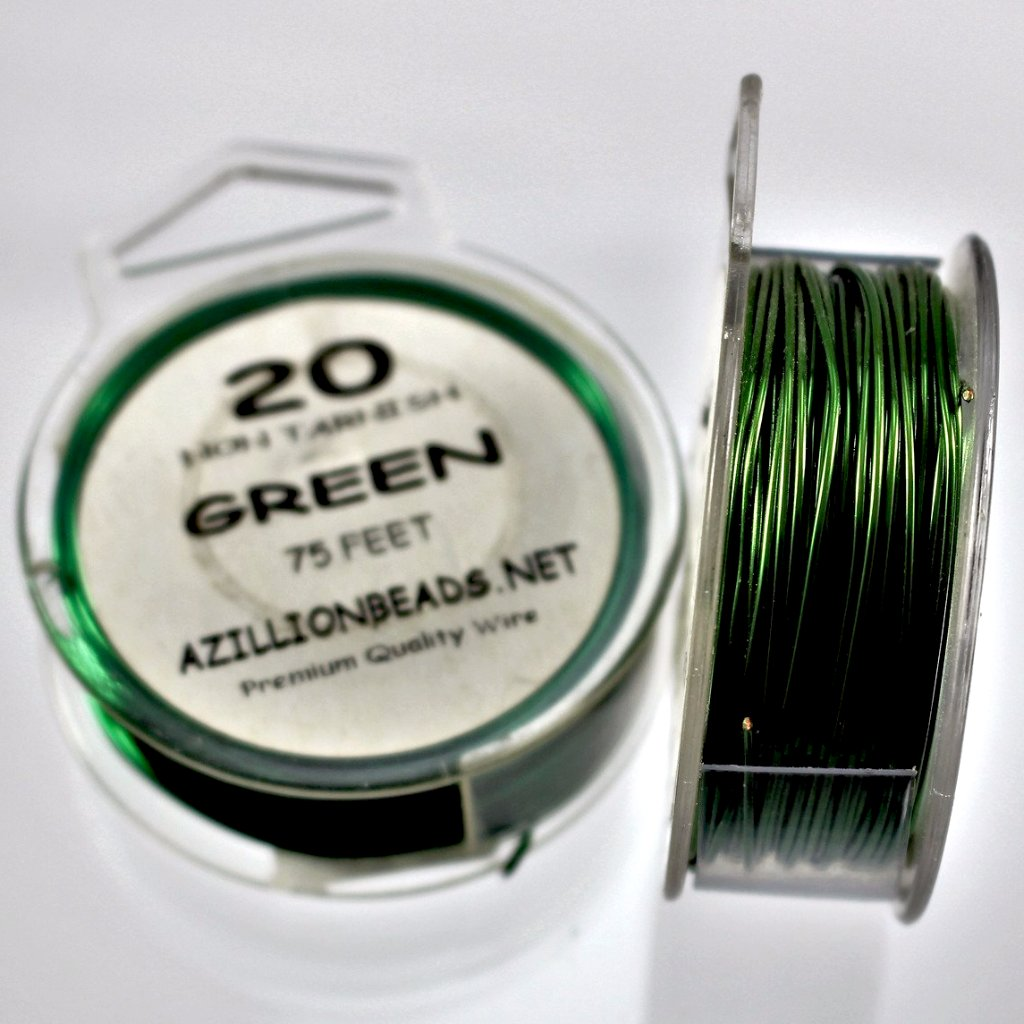 20g Copper Wire, Green, 75ft  R7S5B-20GR - Azillion Beads