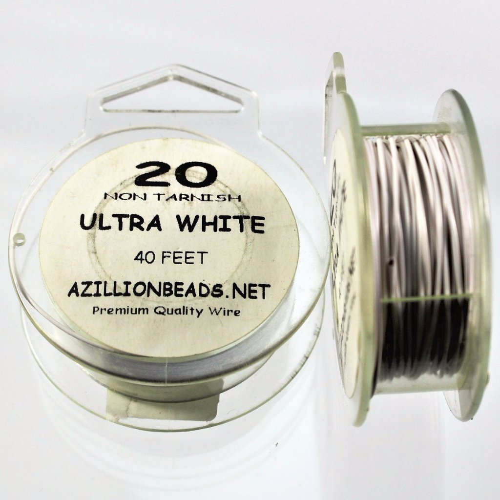 20g Copper Wire, Ultra White, 40ft - Azillion Beads