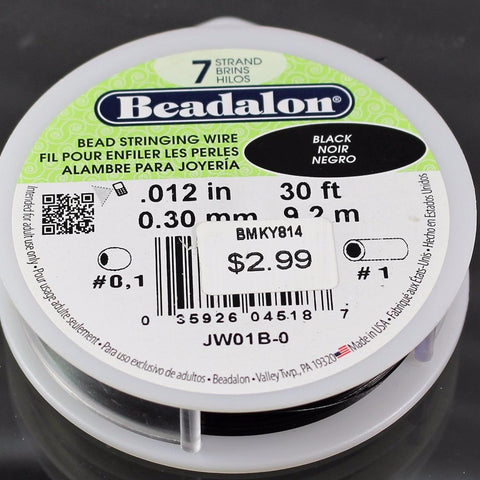 Beadalon .012 Black 7 Strand 30ft   B3-1005