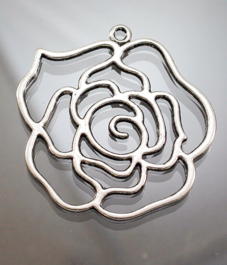 Pendant, Pewter,  Rose. Sku B31036C - Azillion Beads